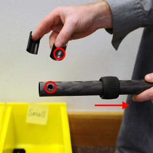 Slide back twist lock and install plastic pieces.