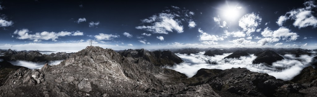 360° Panorama, Biberkopf 2.599 m Allgäuer Alpen, Grenzgrat Deutschland–Österreich