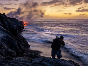 Joe Johnson shooting lava flows in Hawaii.