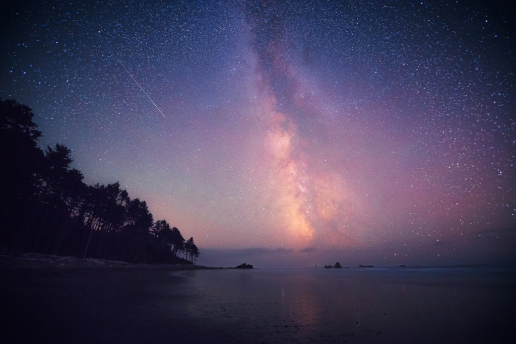 Star photography at Ruby Beach by Dave Morrow.
