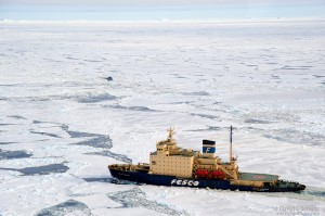 Ship breaking through the Antarctic ice.