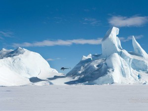 Helicopter over the Antarctic.