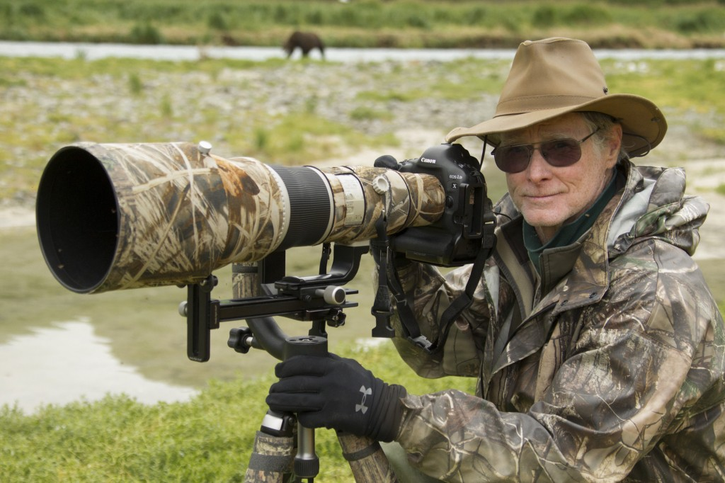 Joe McDonald on location with his gear in Katmai National Park.