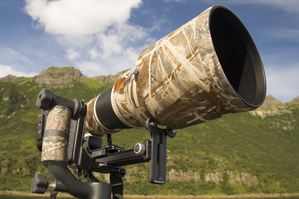 The 800mm lens is well supported by the Long Lens Support Package (CB-YS-QR Package).
