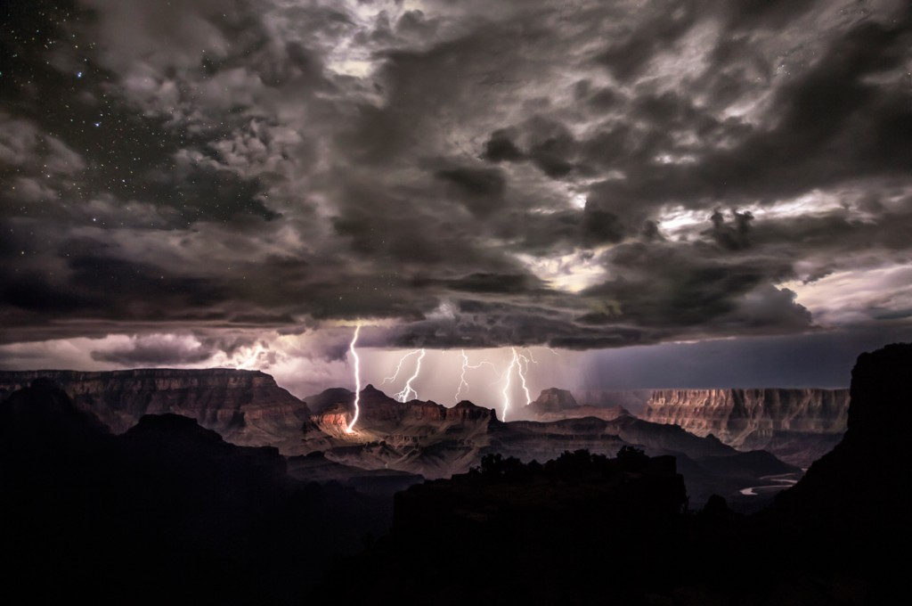 Lightning strikes the south rim of the Grand Canyon