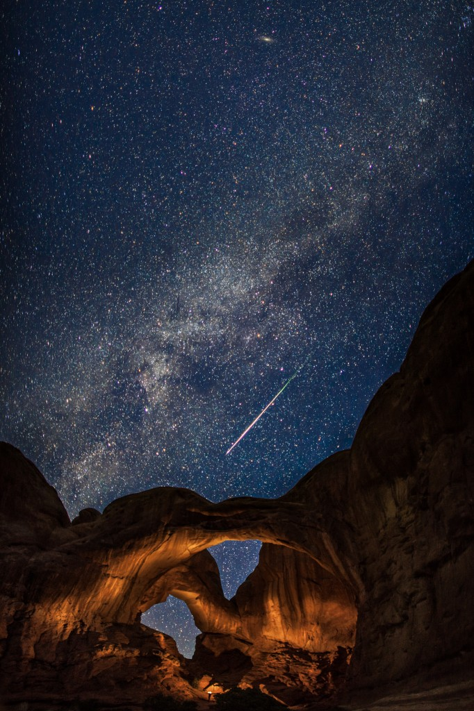 """Double Arch in Arches National Park during the Perseid Meteor Shower"" by <a href=""http://www.tmophoto.com/"" target=""_blank"">Thomas O'Brien</a>"