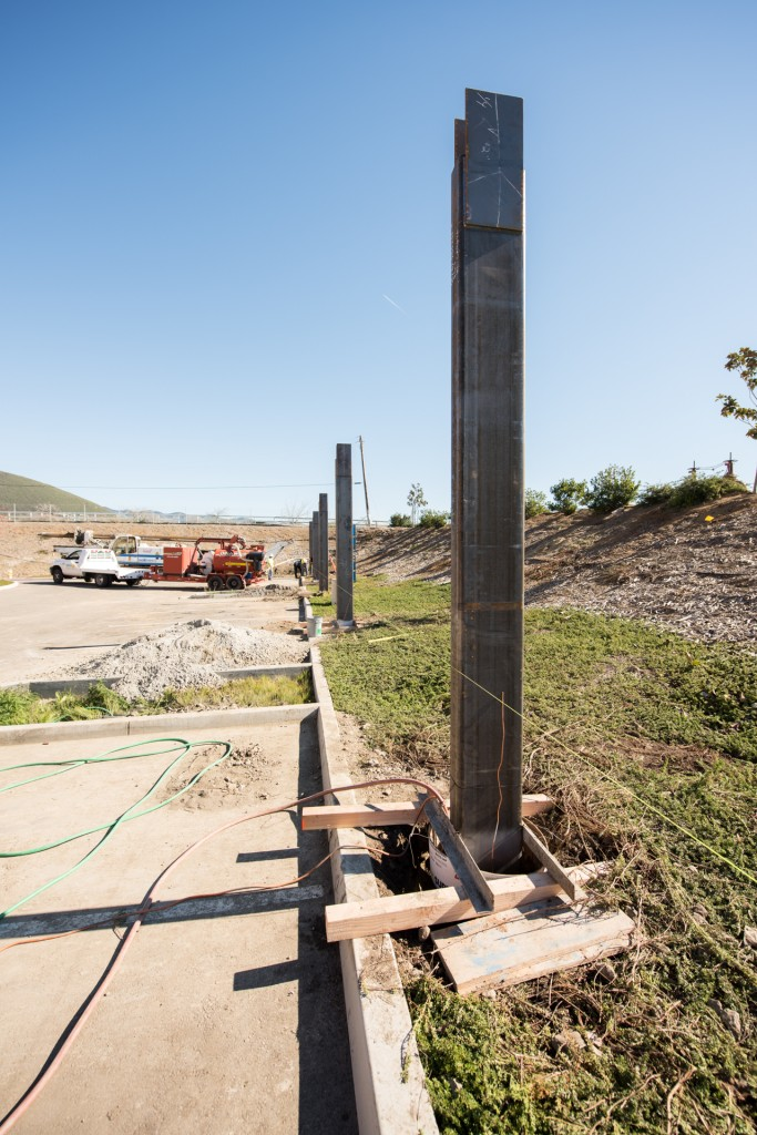 Once the holes were drilled and the rebar was in place, the steel beams were all put into place in less than a day.