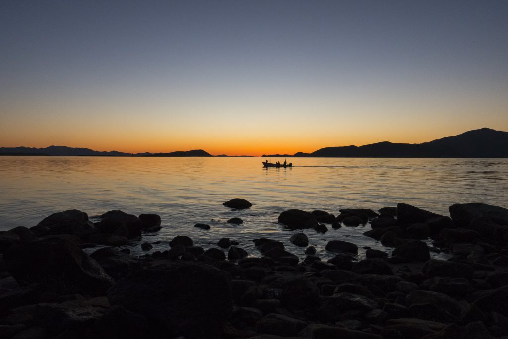 Baja, sunrise, Bahia de Los Angeles, fishing boat-1