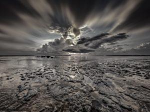 Seascape, sunrise, sunset in Mitchellville Park Beach in Hilton Head Island, South Carolina